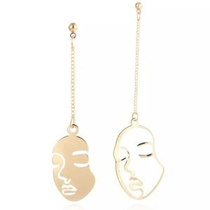 NEW Minimalist gold/silver face dangle earrings